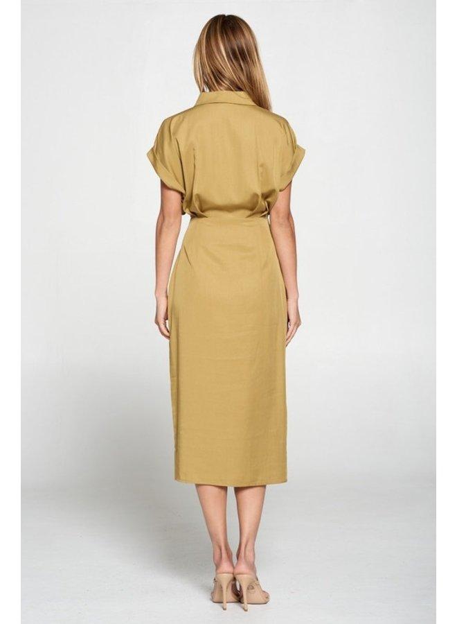 Tencel Button Down Midi Dress