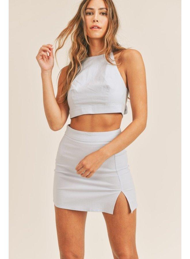 Back Tie Crop Top & Skirt Set