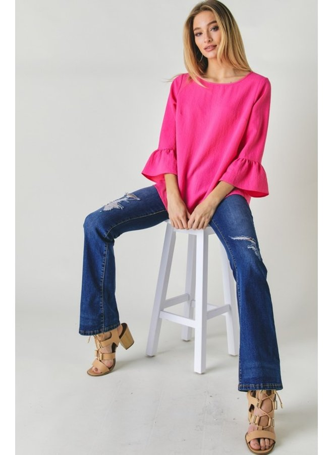 Solid 3/4 Sleeve Blouse