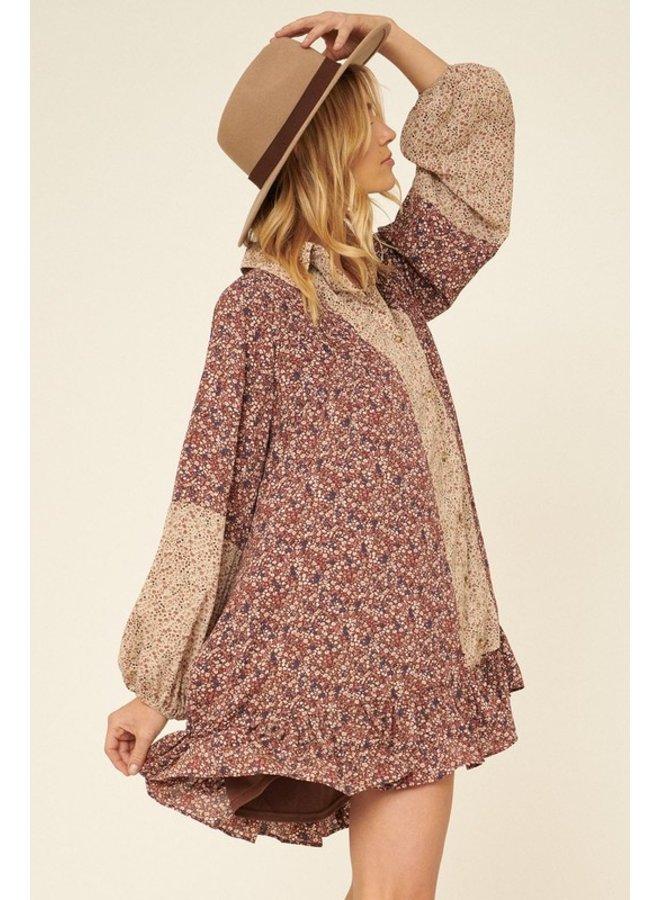 Floral-Block Mini Dress