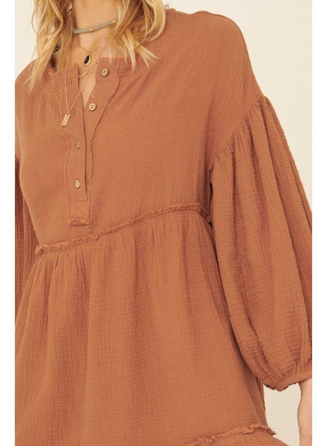 Crinkle Henley Mini Dress