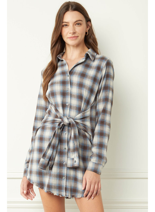Plaid Front-Tie Dress