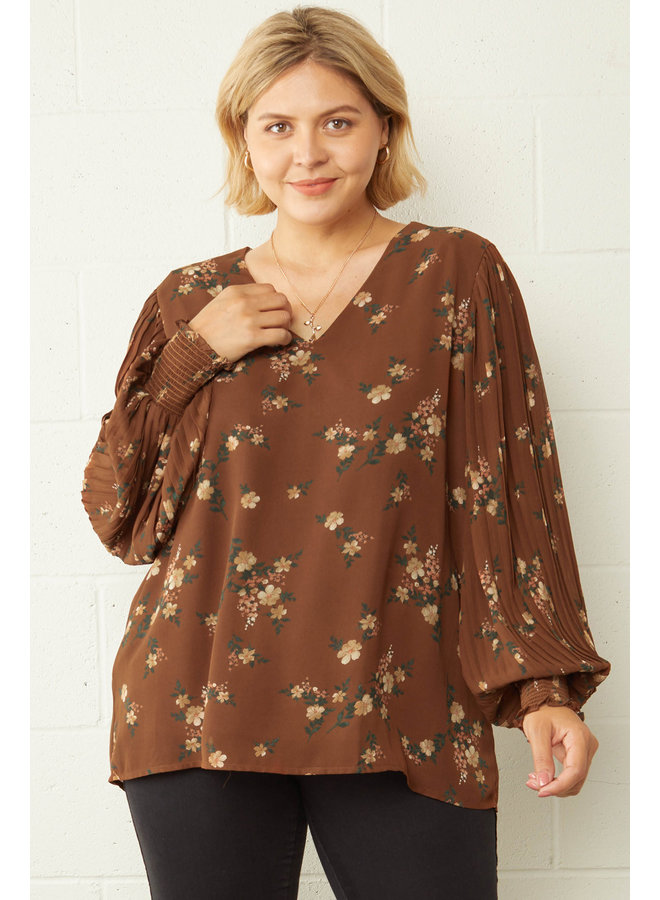 Floral Pleated Sleeve Top