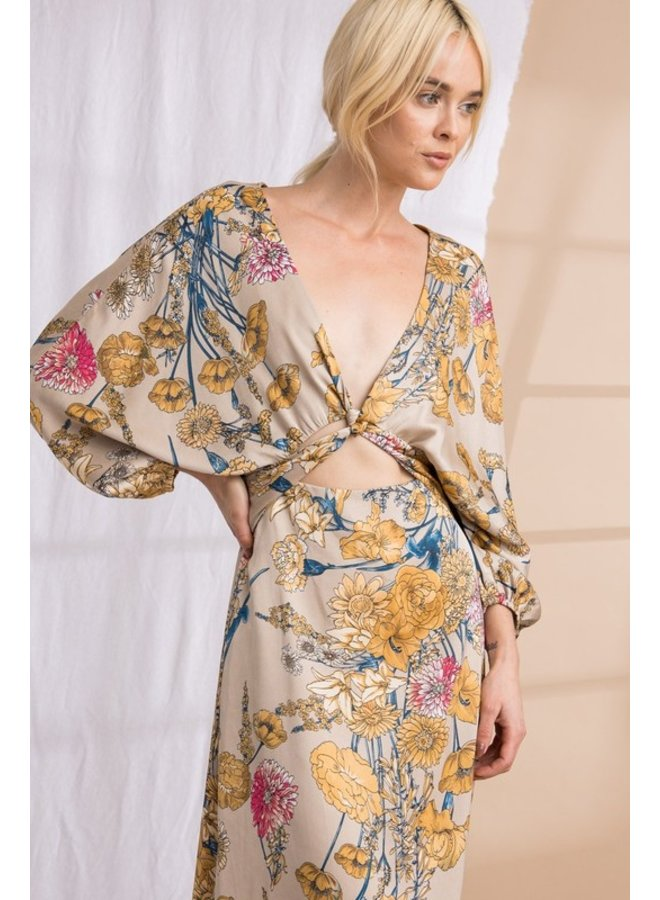 Kimono Waist Cut-Out Maxi Dress