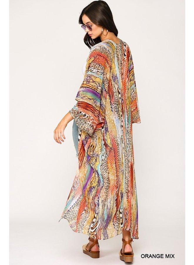 Mixed Animal Print Kimono