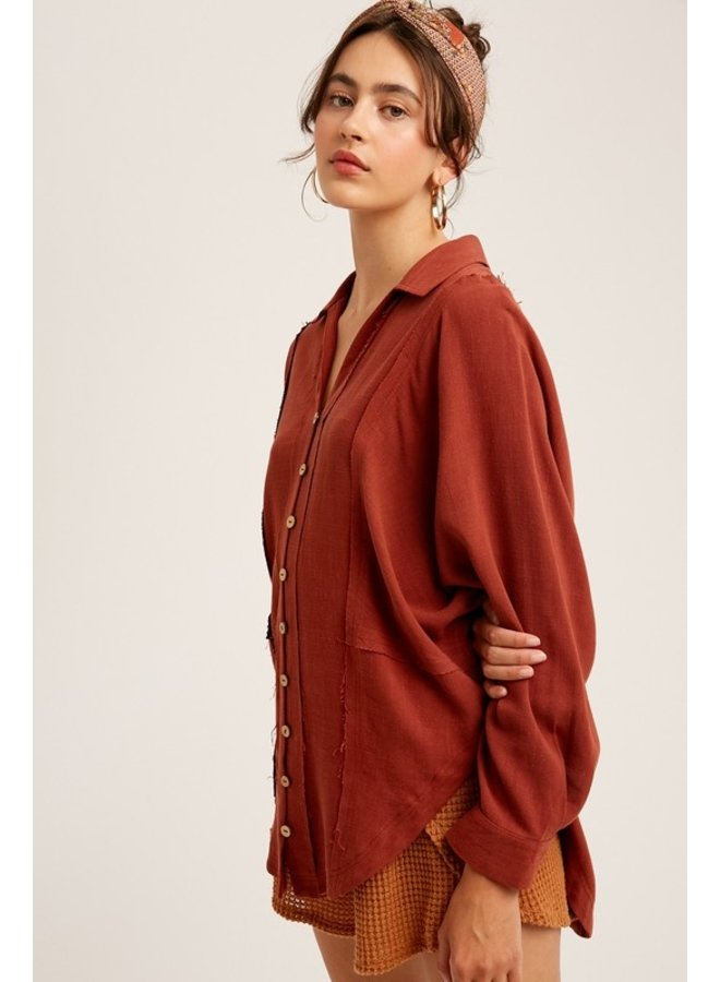 Loose Fit Collared Shirt