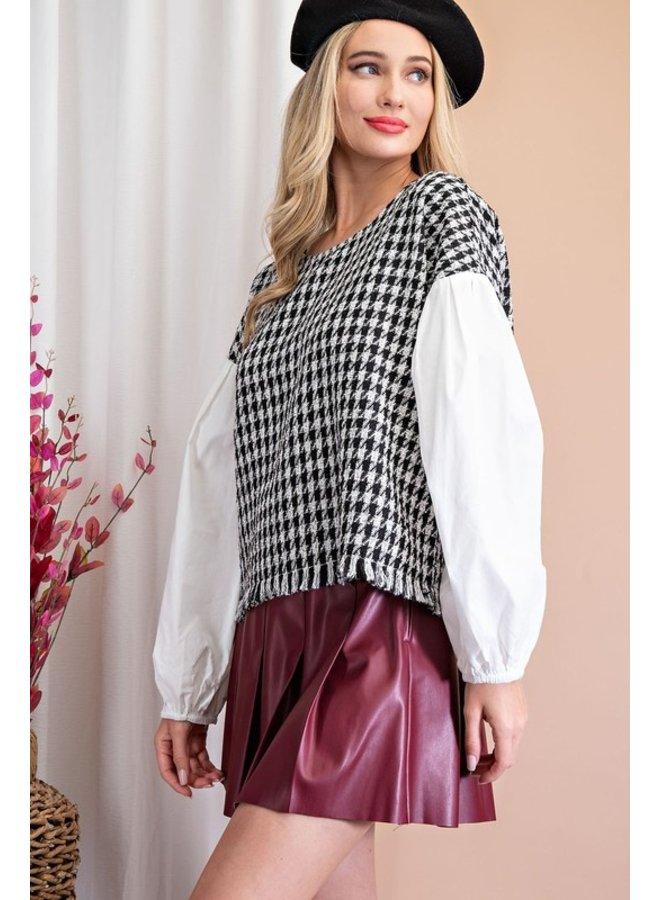 Tweed Contrast Top