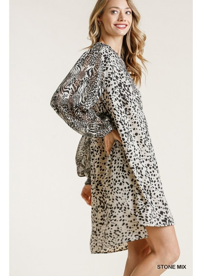 Mixed Leopard Dress with Pleats