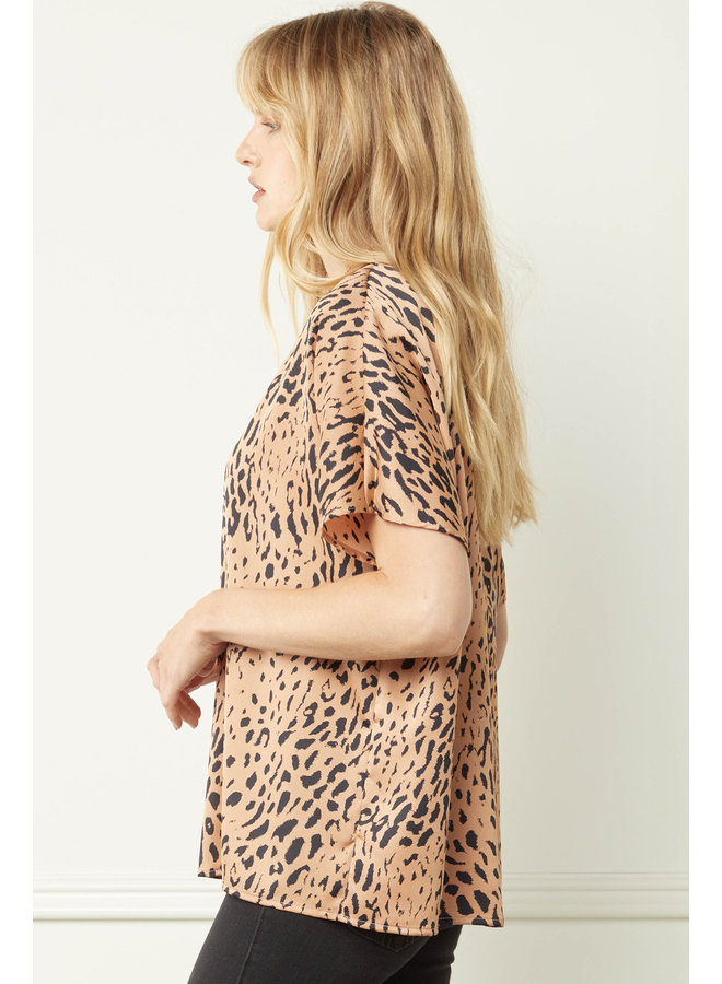 Leopard Silky V-Neck