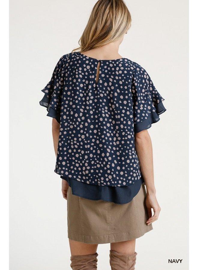 Layered Dalmatian Print Blouse