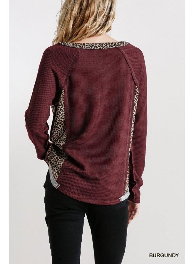 Leopard Trim Waffle Knit Top