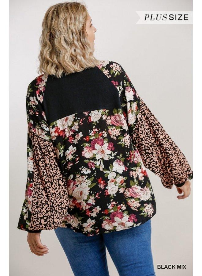Floral and Leopard Side Slit Top