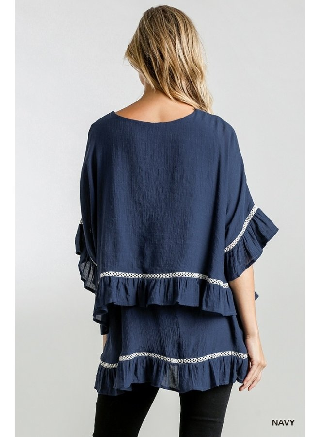 Crochet Detail Layered Top