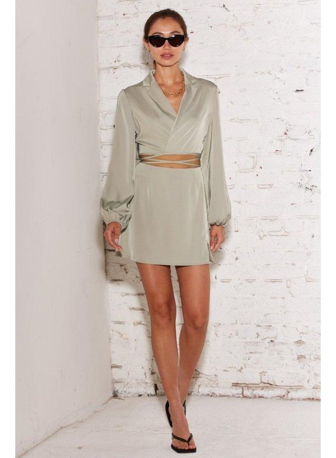 Satin 2-Piece Skirt Set