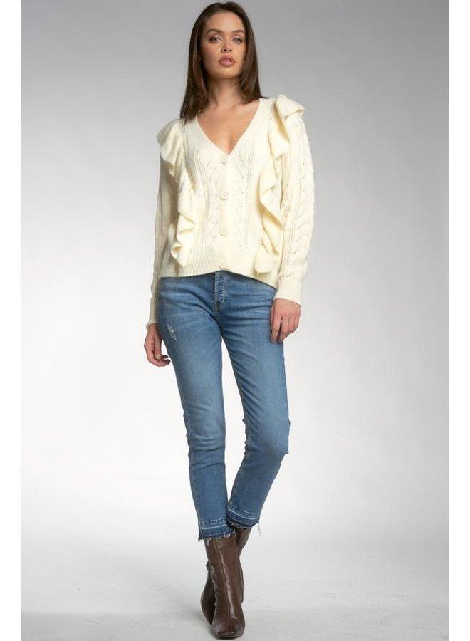 Ruffle Sleeve Sweater Cardigan