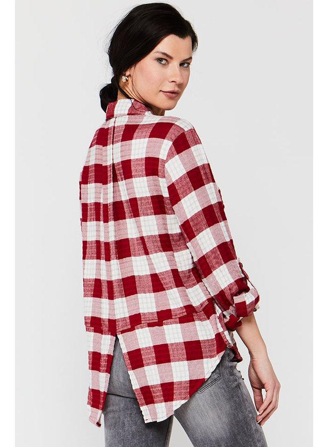 Checkered Tab Sleeve Top