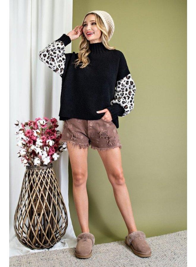 Leopard Sleeve Turtleneck Sweater
