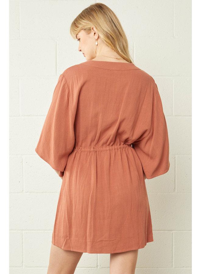 Waist Cinch Button Down Dress