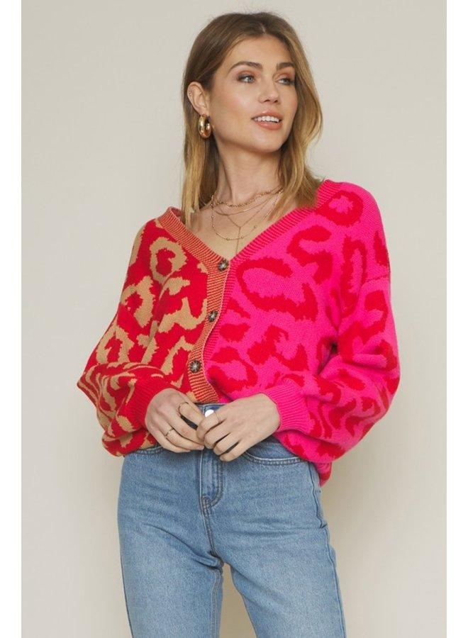 Colorblock Leopard Cardigan