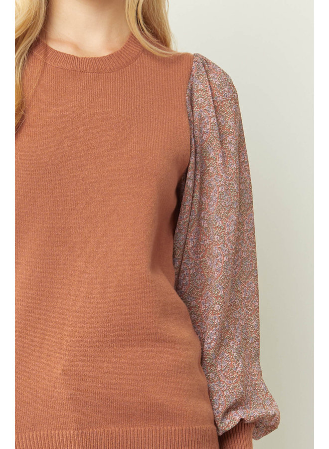 Sweater Vest with Sheer Floral Sleeves