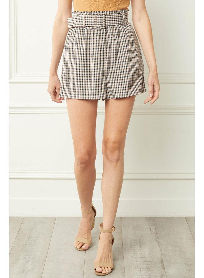 High-Waisted Plaid Shorts