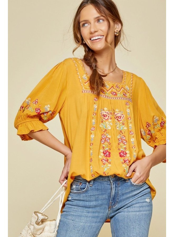 Square Neck Embroidered Blouse