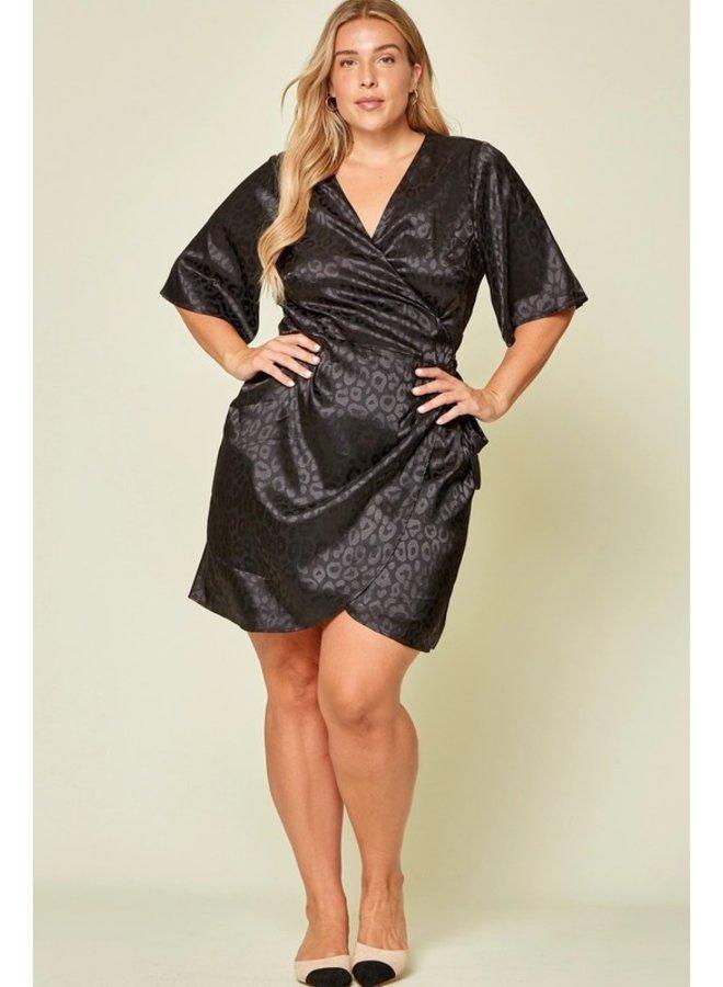 Satin Leopard Wrap Dress