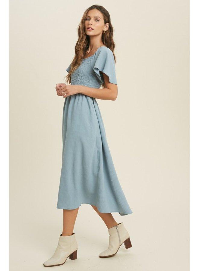 Textured Smocked Midi Dress