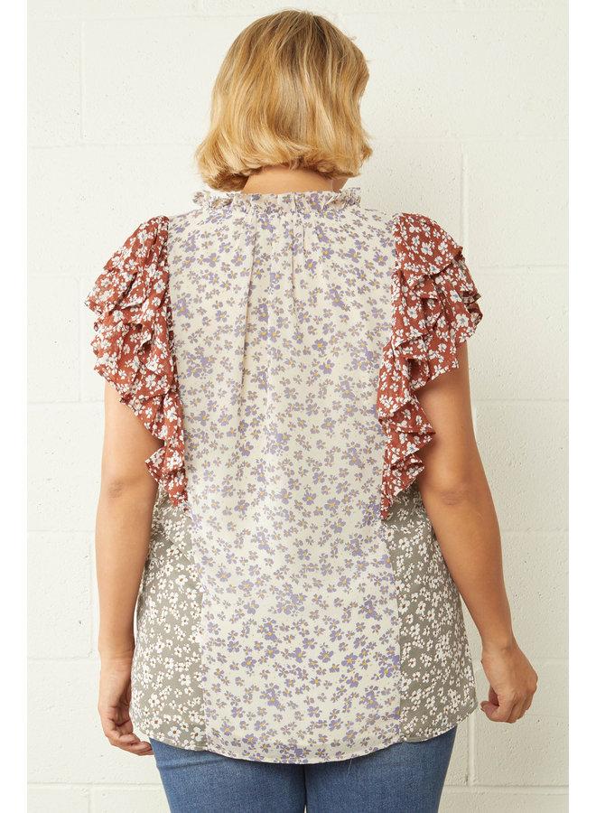 Floral Ruffle Shoulder Blouse