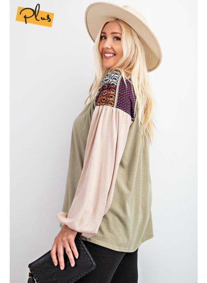 Printed Shoulder Jersey Top