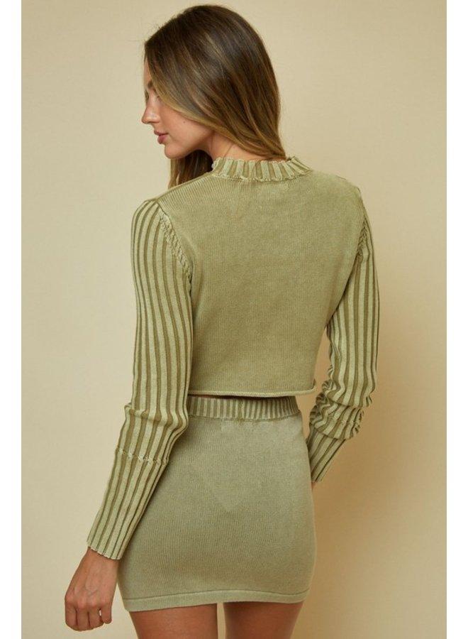 Ribbed Sleeve Mock Neck Sweater