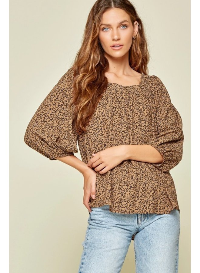 Square Neck Leopard  Top