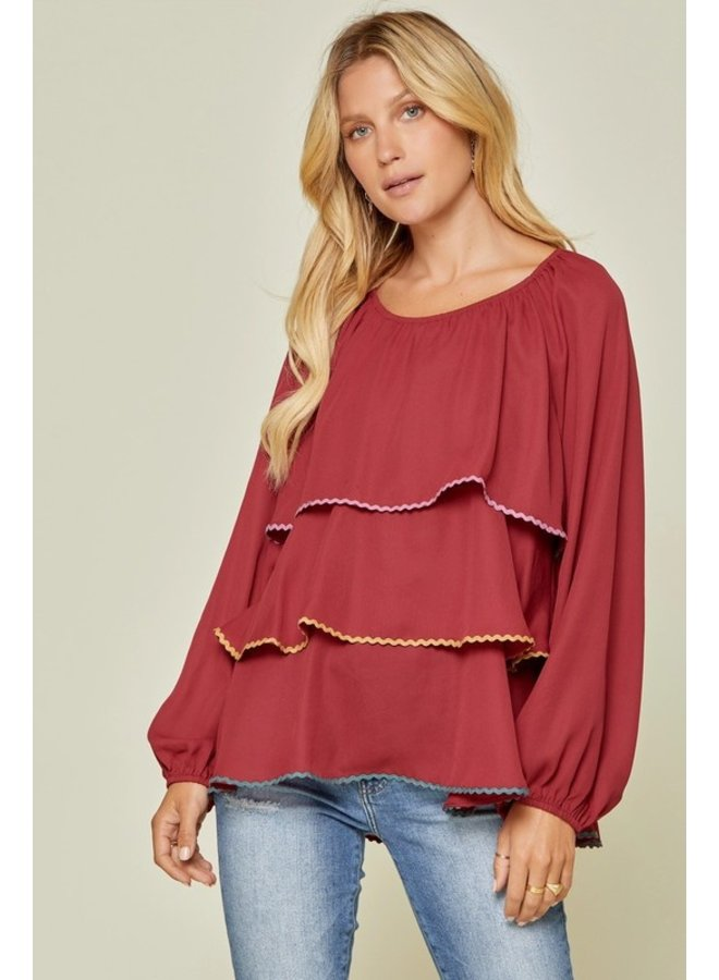 Rick-Rack Tiered Blouse