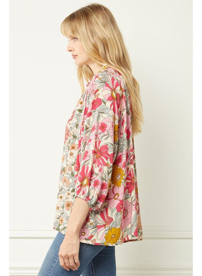 Floral V-Neck Long Sleeve Blouse