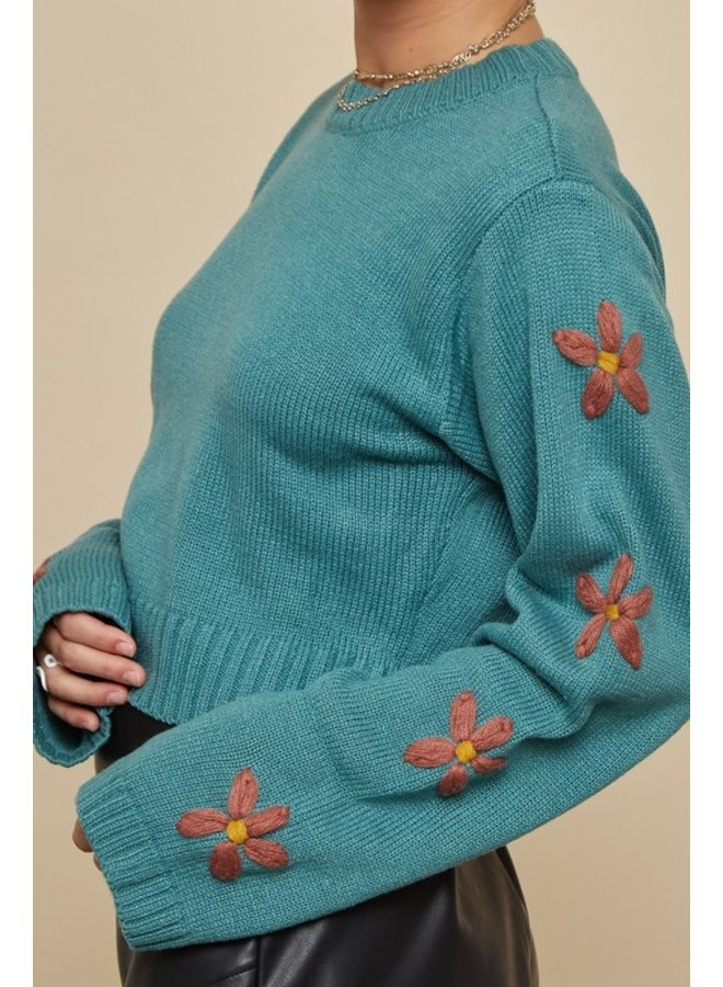 Floral Sleeve Embroidered Sweater