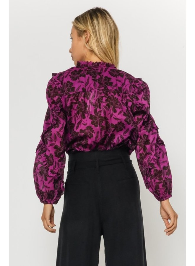 Floral High Neck Ruffle Sleeve Blouse