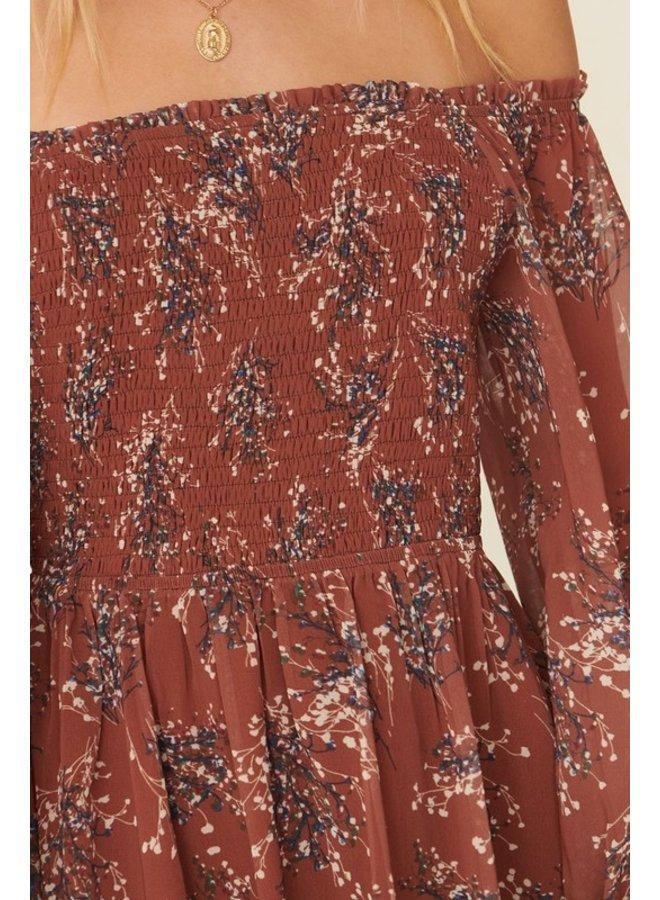 Off-The-Shoulder Smocked Dress