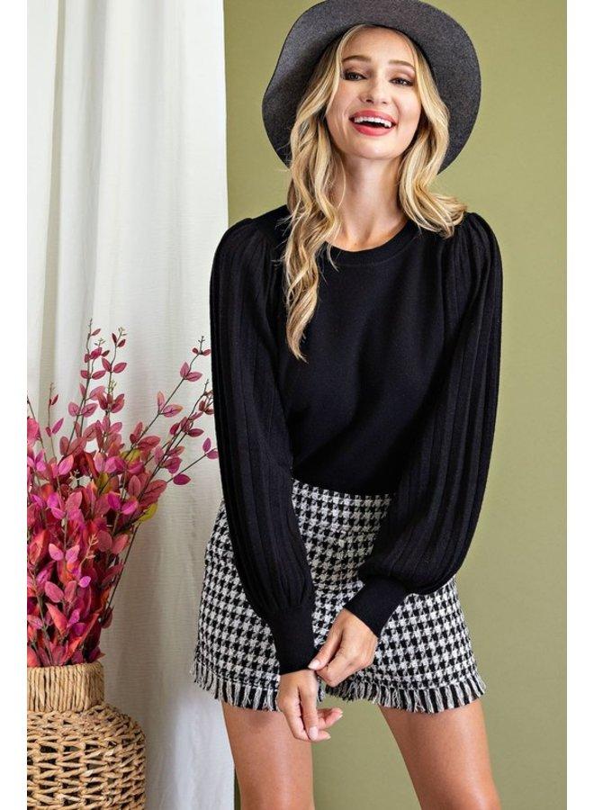 Pleated Puff Sleeve Sweater
