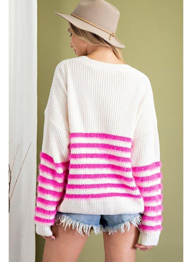 Fuzzy Striped Sweater