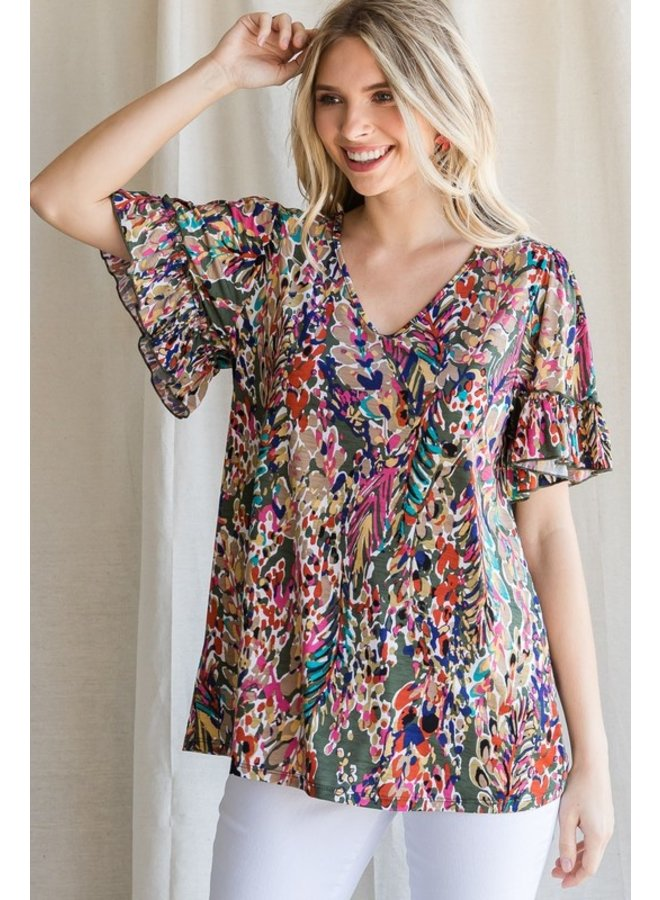 Floral V-Neck Ruffle Sleeve Top