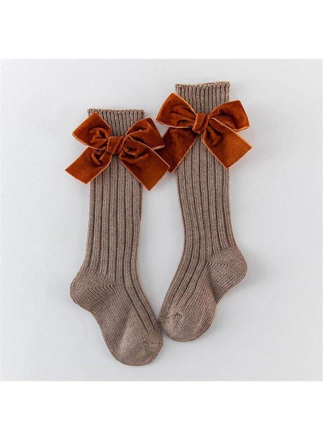 Khaki Bow Stockings