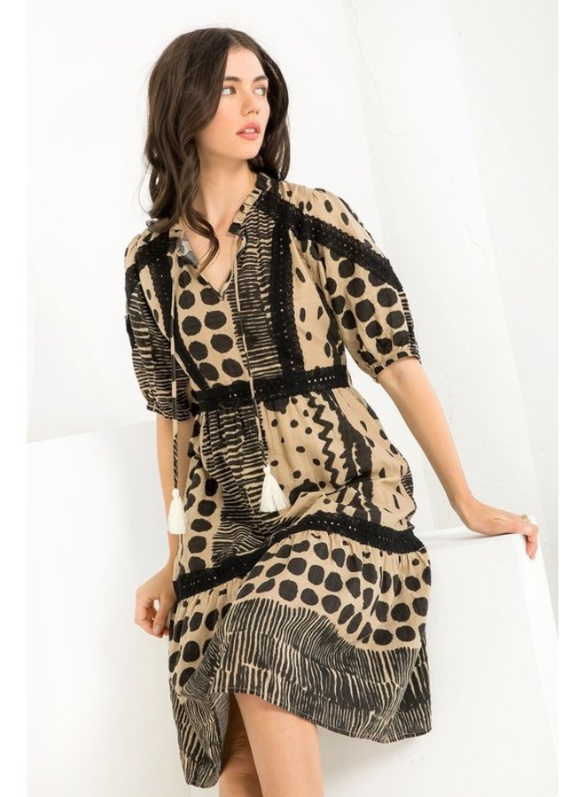 Mixed Print Puff Sleeve Dress
