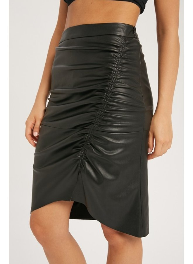 Faux Leather Ruched Skirt