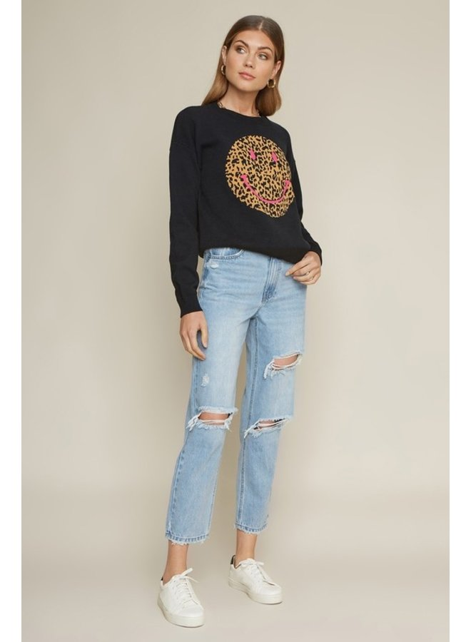 Leopard Smiley Sweater