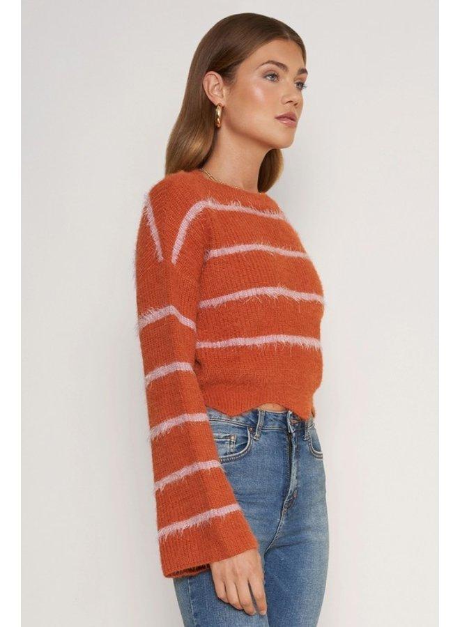 Scallop Hem Bell Sleeve Sweater