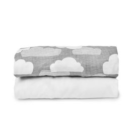 Travel Crib Sheets Clouds White