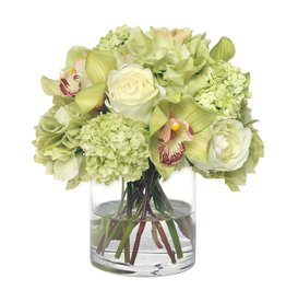 Floral Hydrangea & Orchid Bouquet In Vase