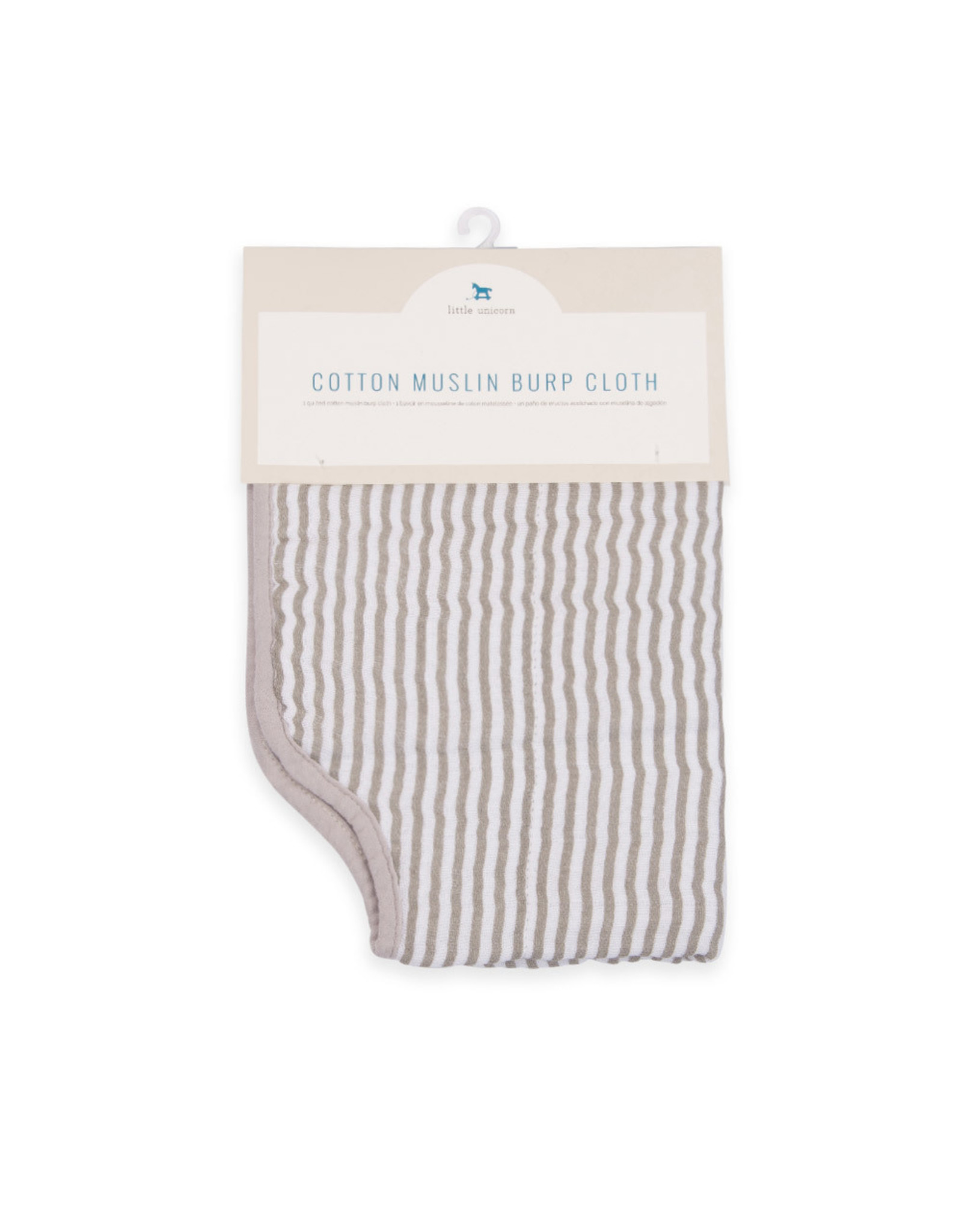 Burp Cloth Muslin Grey Stripe MP Reg
