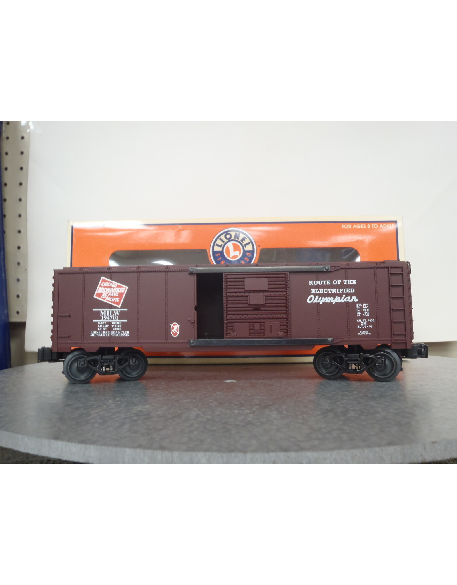 Lionel Boxcar Double Door Milwaukee Road RR Club 2001