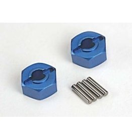 Traxxas Wheel hubs, hex (blue-anodized, lightweight aluminum) (2)/ axle pins(4)